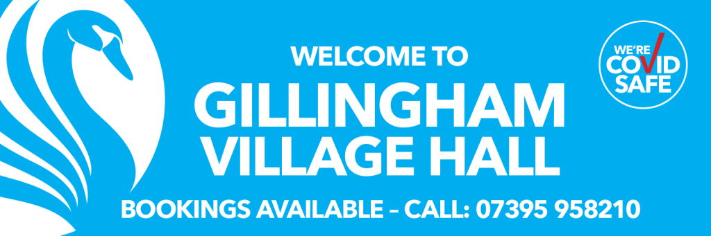 Welcome to Gillingham Village Hall BECCLES COVID safe banner