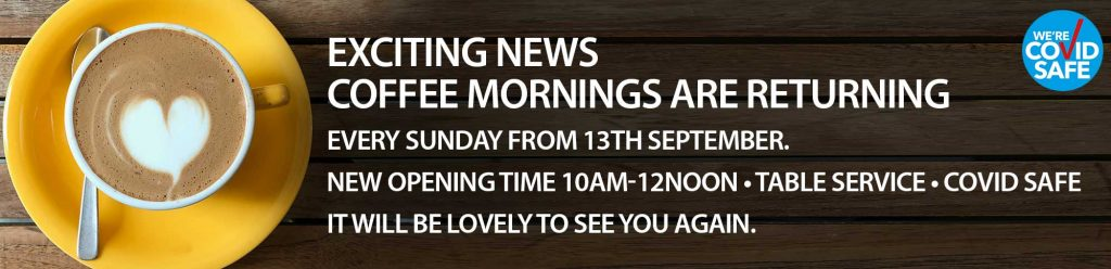 coffee mornings are returning at Gillingham Village Hall banner